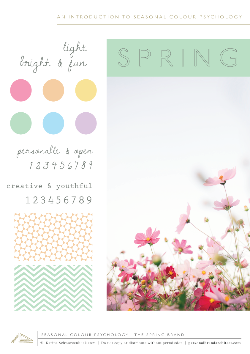 Cheatsheet to the spring brand in seasonal colour psychology